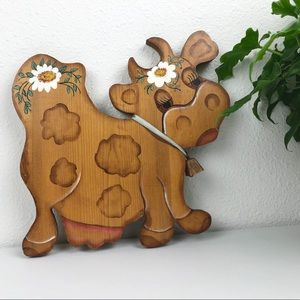 VINTAGE 1970's Hand Painted Cow Wood Figure Wall A